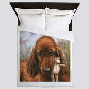 Irish Setter Pup by Dawn Secord Queen Duvet