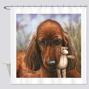 Irish Setter Pup by Dawn Secord Shower Curtain