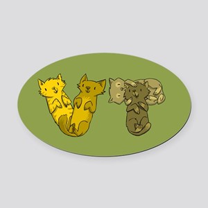 Vermont Cats (green) Oval Car Magnet