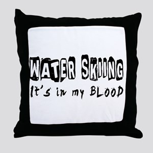 Water Skiing Designs Throw Pillow
