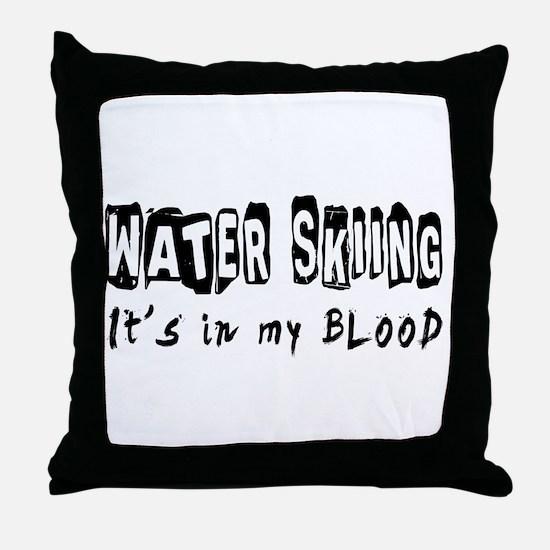 Water Skiing Designs Throw Pillow