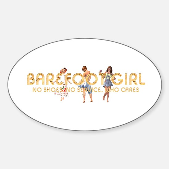 Barefoot Girl Sticker (Oval)