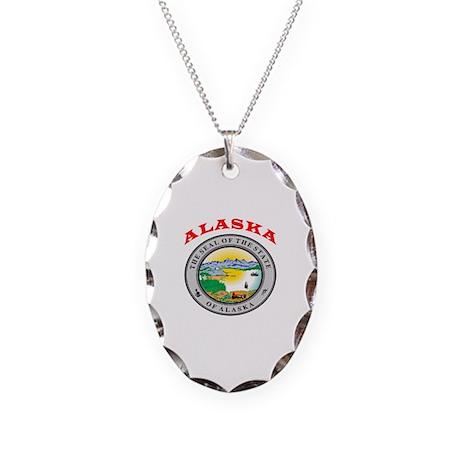 Alaska State Seal Necklace Oval Charm