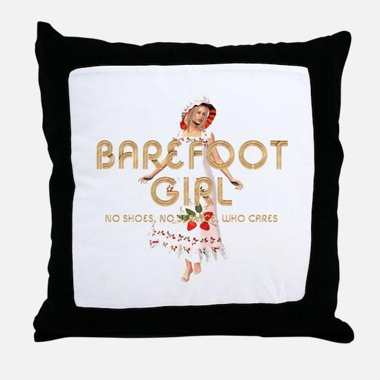 Barefoot Girl Throw Pillow