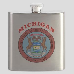 Michigan State Seal Flask
