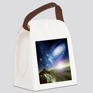 Colliding galaxies, artwork - Canvas Lunch Bag