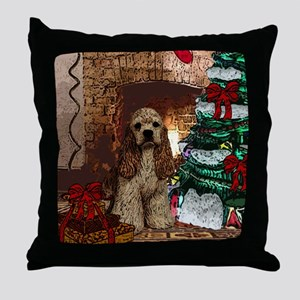 Cocker Spaniel Christmas Watercolor Throw Pillow