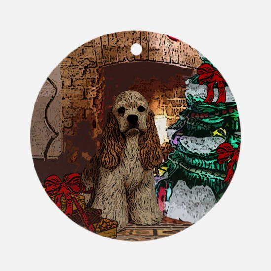 Cocker Spaniel Christmas Watercolor Ornament (Roun