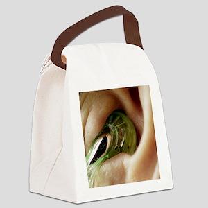 Earphone in an ear - Canvas Lunch Bag