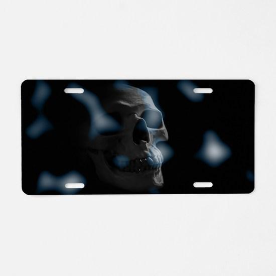 blue skull Aluminum License Plate