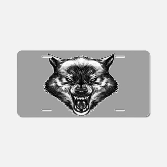 Angry wolf Aluminum License Plate