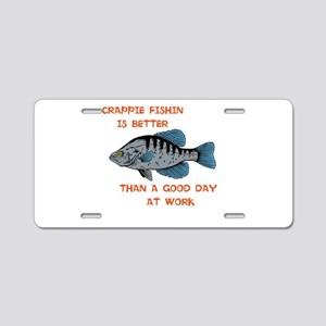 Crappie fishing shirt Aluminum License Plate