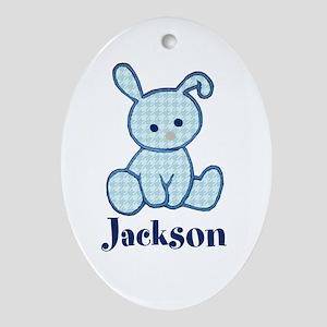 Custom Easter Blue Bunny Ornament (Oval)