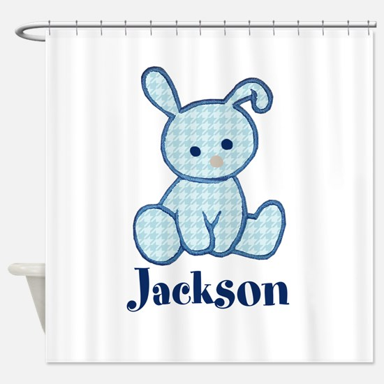 Custom Easter Blue Bunny Shower Curtain