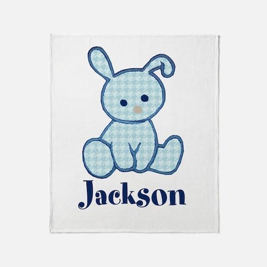 Custom Easter Blue Bunny Throw Blanket