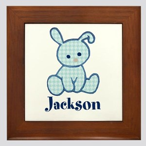 Custom Easter Blue Bunny Framed Tile