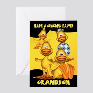 Grandson Easter Card With Fun Ducks, Quacking East