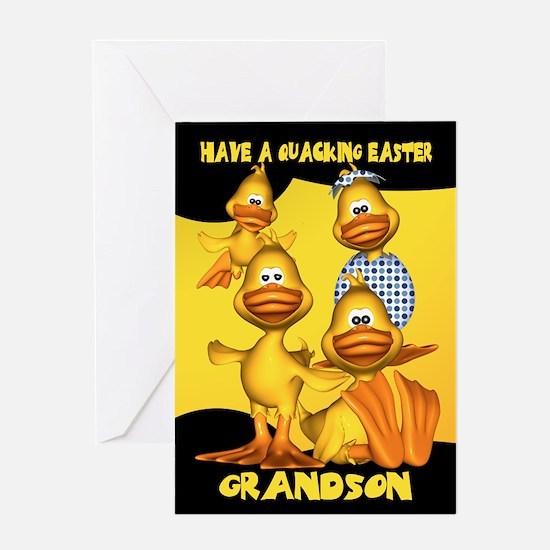 Grandson Easter Card With Fun Ducks, Quacking East