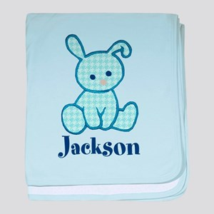 Custom Easter Blue Bunny baby blanket