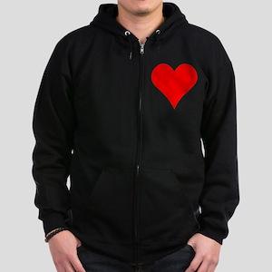 Simple Red Heart Zip Hoodie