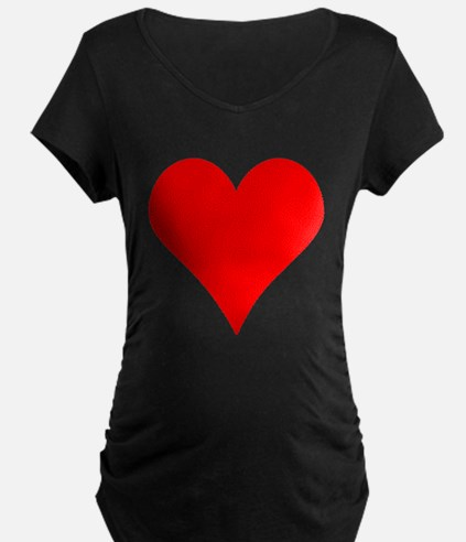 Simple Red Heart Maternity T-Shirt