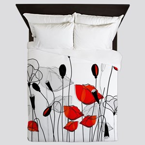 Whimsical Red Poppies Queen Duvet
