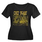 New York Women's Plus Size Scoop Neck Dark T-Shirt