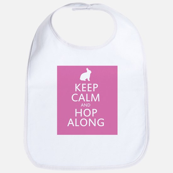 Keep calm and hop along for easter Bib