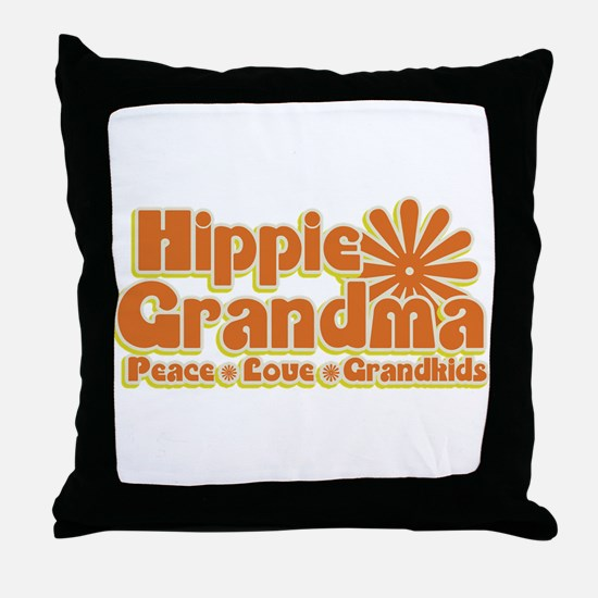 Hippie Grandma Throw Pillow