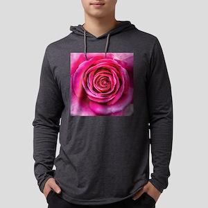 Hot Pink Rose Closeup Mens Hooded Shirt