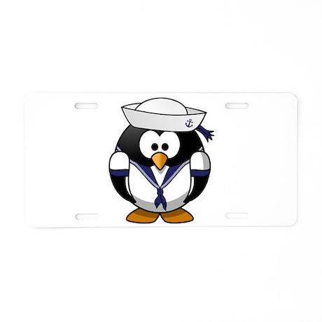 Sailor Penguin Aluminum License Plate