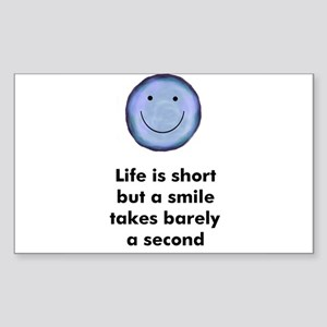 Life is short but a smile tak Sticker (Rectangular