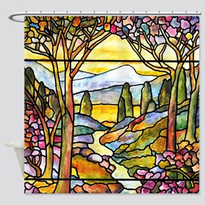 Tiffany Landscape Window Shower Curtain