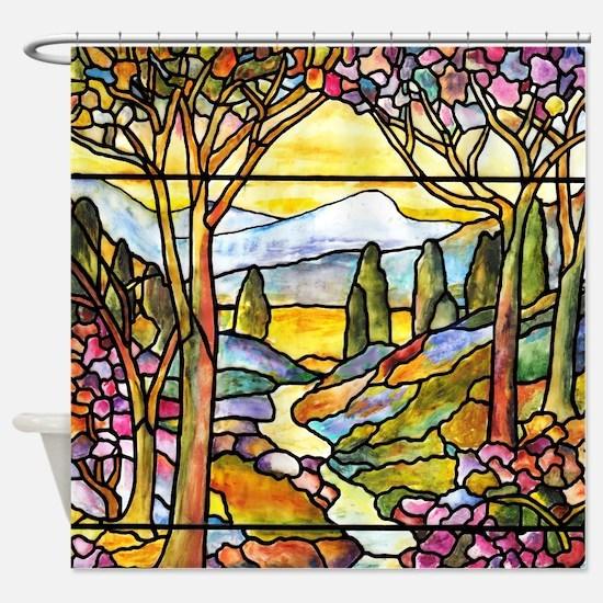 Tiffany Landscape Window Shower Curtain