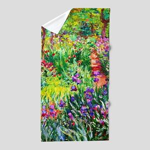 Iris Garden at Giverny Monet Beach Towel