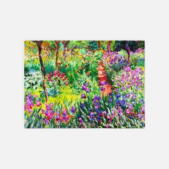 Iris Garden at Giverny Monet 5'x7'Area Rug