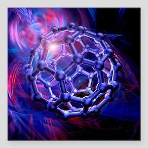 Buckyball molecule, artwork - Square Car Magnet 3