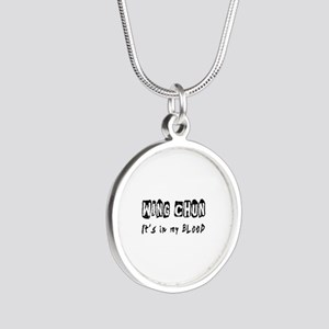 Wing Chun Martial Arts Silver Round Necklace