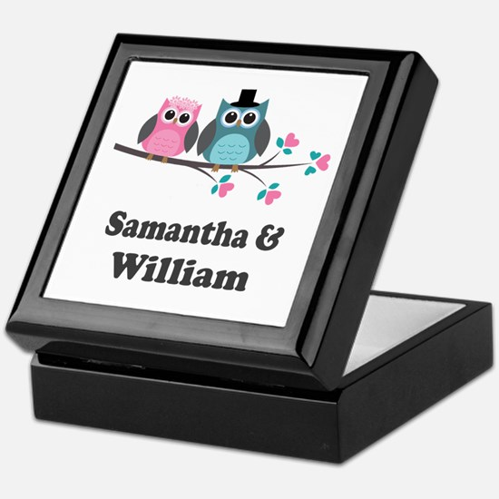 Personalized Bride Groom Owls Keepsake Box