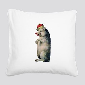 Pig King Square Canvas Pillow