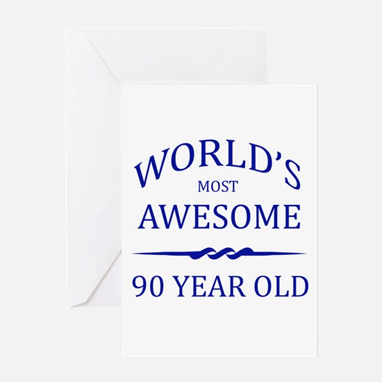 90 year old birthday greeting cards cafepress worlds most awesome 90 year old greeting card bookmarktalkfo Image collections