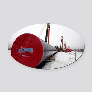 Laying a gas pipe - Oval Car Magnet