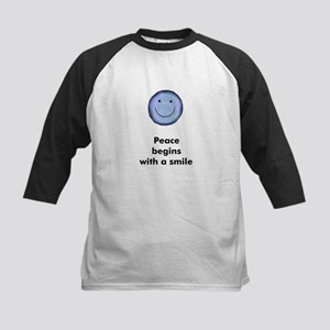 Peace begins with a smile Kids Baseball Jersey