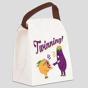 Emoji Eggplant and Peach Twinning Canvas Lunch Bag
