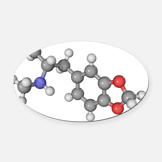 MDMA drug molecule - Oval Car Magnet
