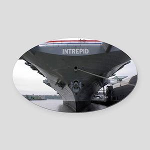 USS Intrepid aircraft carrier - Oval Car Magnet