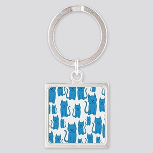 Blue Cats Pattern. Square Keychain
