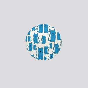 Blue Cats Pattern. Mini Button