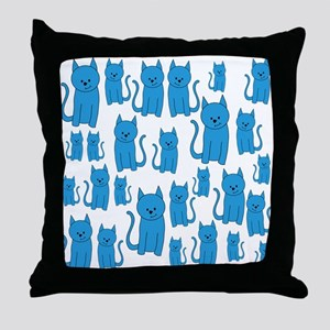 Blue Cats Pattern. Throw Pillow