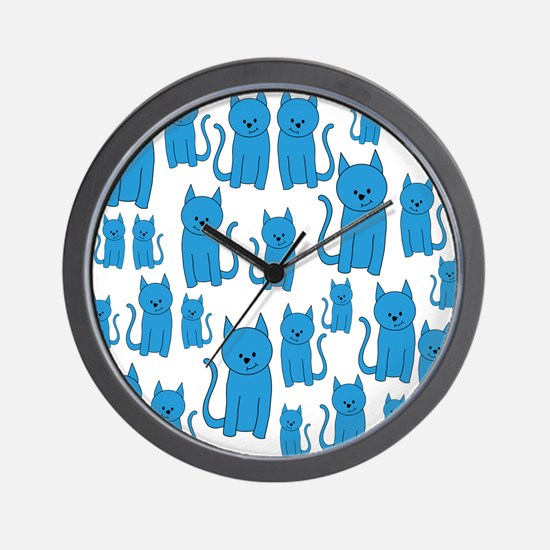 Blue Cats Pattern. Wall Clock